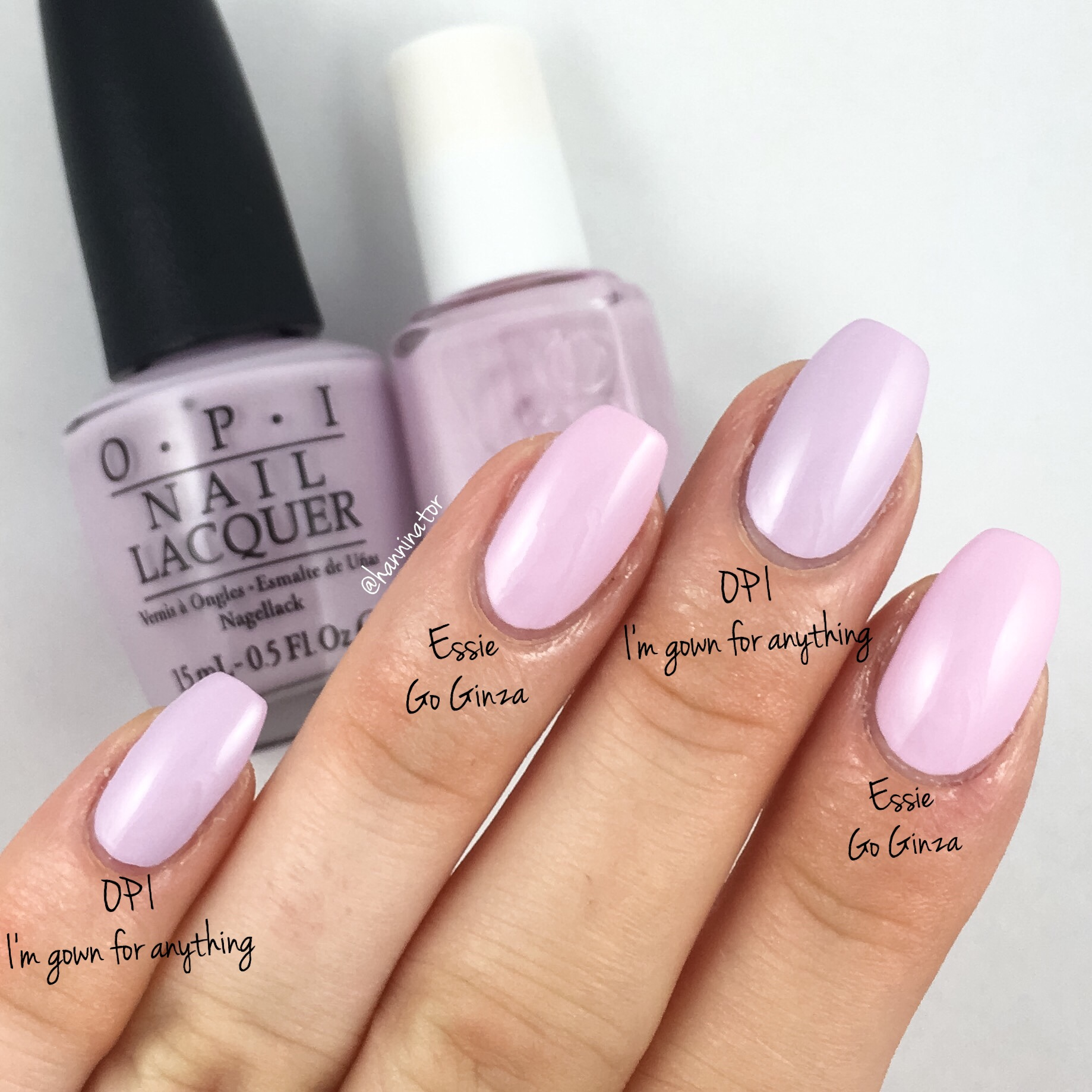 OPI I\'m gown for anything vs Essie Go Ginza – Hanninator