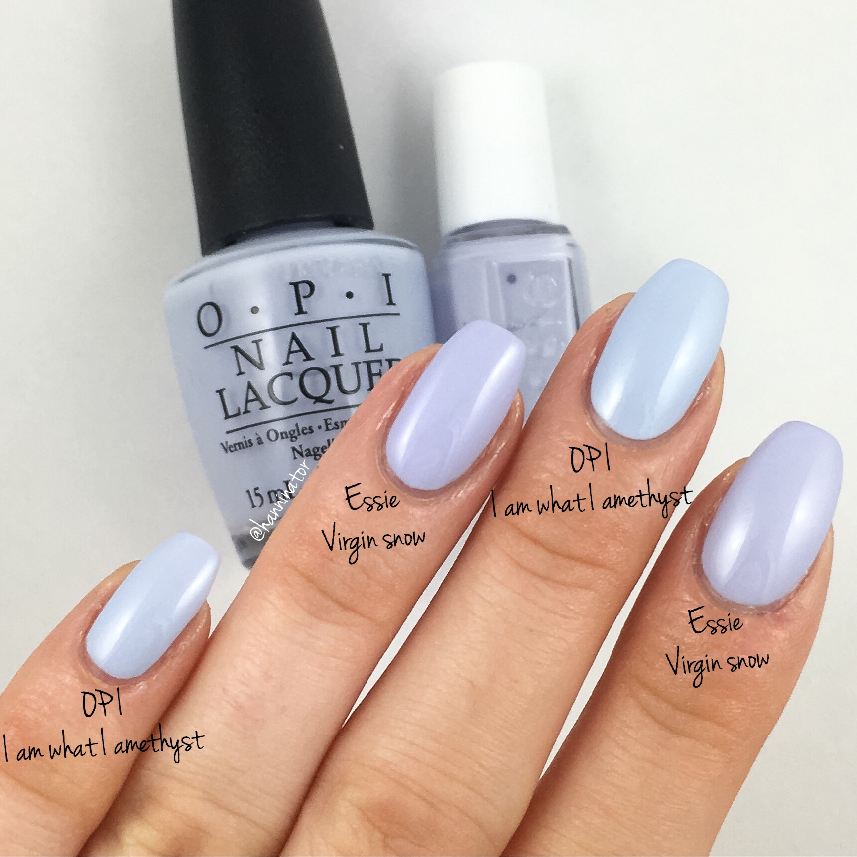 Opi I Am What I Amethyst Vs Essie Virgin Snow Hanninator
