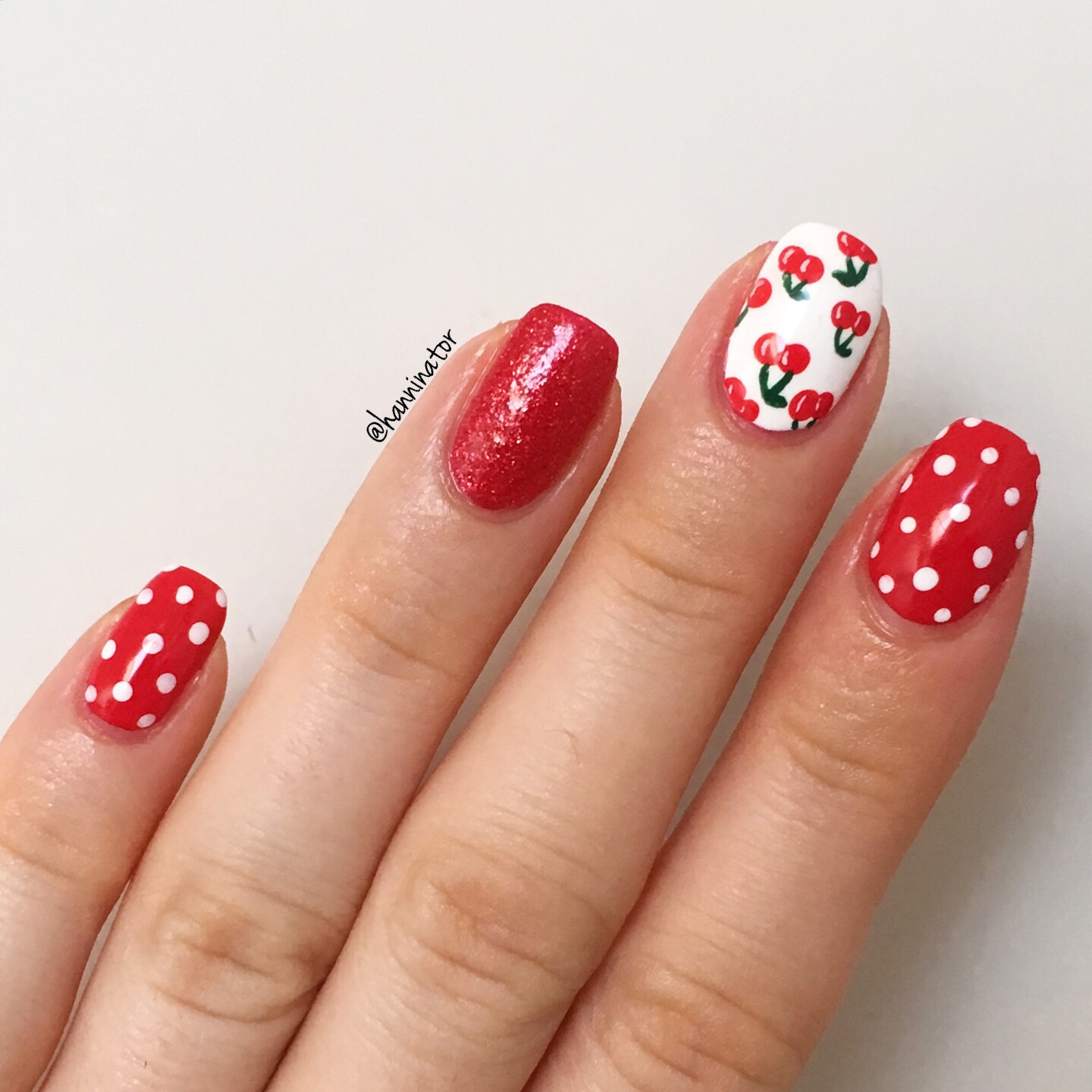 For these nails I used Coca-Cola red, Magazine cover mouse, Alpine snow and  Don't mess with OPI, all polishes are from OPI. - Cherry Nail Art – Hanninator